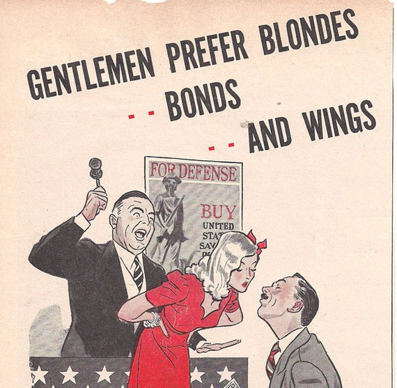 Vintage WWII Ad 1943- War Bonds- PinUp- 5 x 10 inches 13 x 25  cm