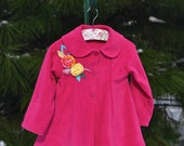 Girls coat fuchsia pink with orange and yellow handmade roses. Toddlers or girls. Sorbet colors