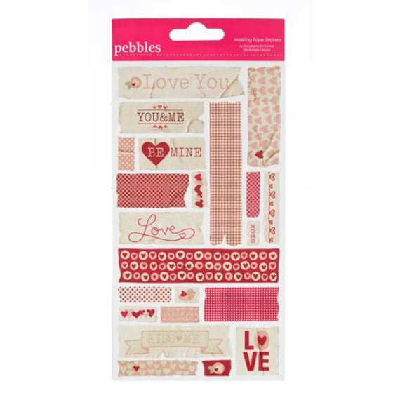"""CLOSEOUT SALE - 22 Piece Sheet of Valentines / Love Decorative Masking Tape Stickers by Pebbles Inc from the """"With Love"""" collection"""