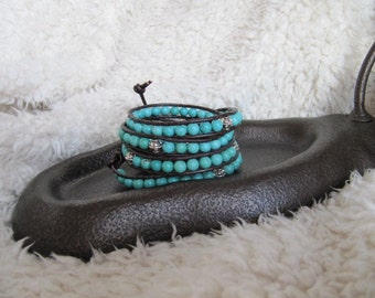 Beaded Leather Wrap Bracelet with Turquoise and Silver