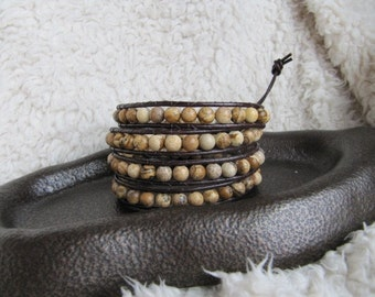 Beaded Leather Wrap Bracelet with Brown Jasper Gemstones