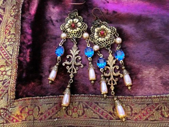 Extra Long Sapphire Blue Crystal Renaissance Chandelier Earrings, Flower Filigree Earrings, Edwardian Victorian Jewelry, Clip-On Option