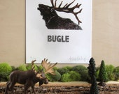 ONLY 2 LEFT - Elk - Bugle - Silkscreen Print - Limited Edition - Animal Calls Series - Elk Antlers - Gift for Hunter