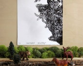 Animal Kingdom II - Silkscreen Print - Limited Edition Menagerie All the Animals Animals of the World Hand printed