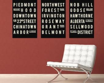 Subway Art - PORTLAND - Typography Print - Set of 3