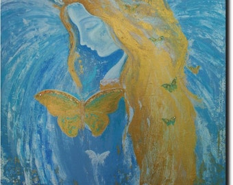 Guardian Angel ~ Original Abstract Angel Painting on Large 24 x 30 Stretched Canvas