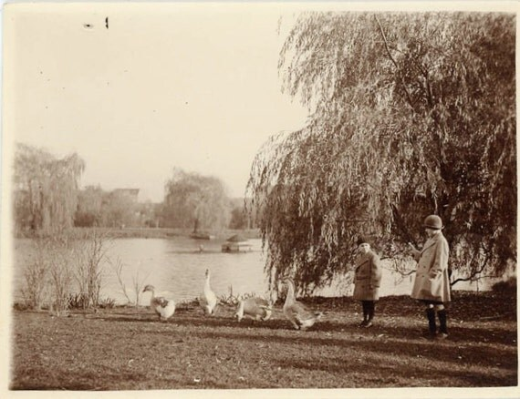 """Vintage Photo """"Children and Geese"""", Photography, Paper Ephemera, Snapshot, Old Photo, Collectibles - 0002"""