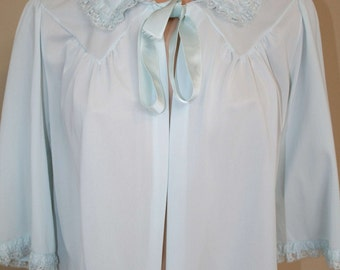 Vintage Shadowline Blue Bed Jacket with Lace Trim in a size M