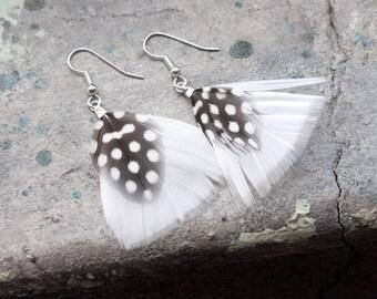 Playful Polka Dot Feather Dangle Earrings for work or school