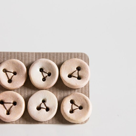 unique art buttons, handmade, ceramic supplies for needlecraft, neutral, nude finish. set of 6.