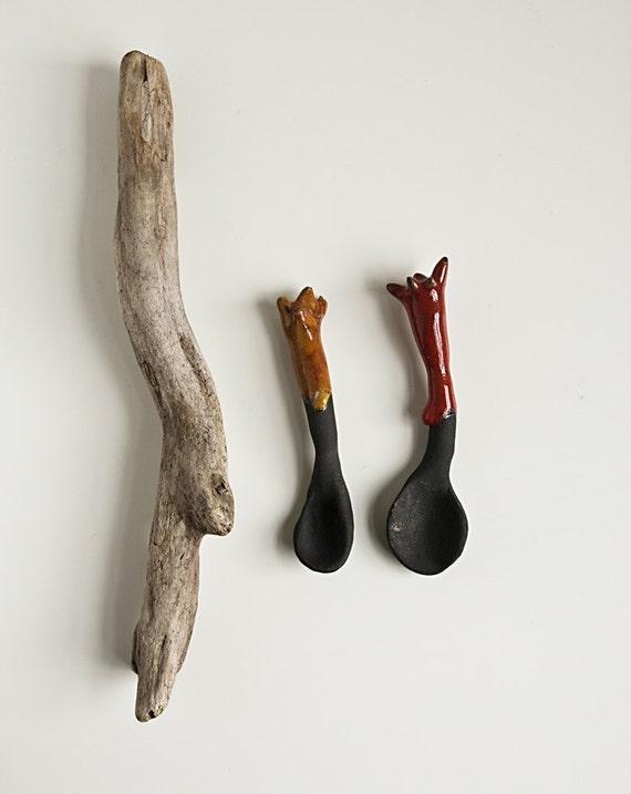 ceramic spoons, red, orange, black clay, sugar or salt spoon, kitchen decor, housewares gift, hostess gift, karoart