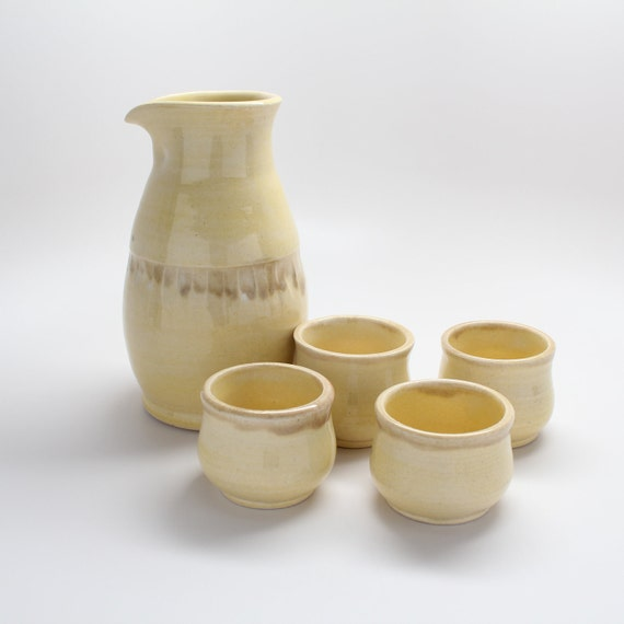 Yellow Sake Server with Four Cups