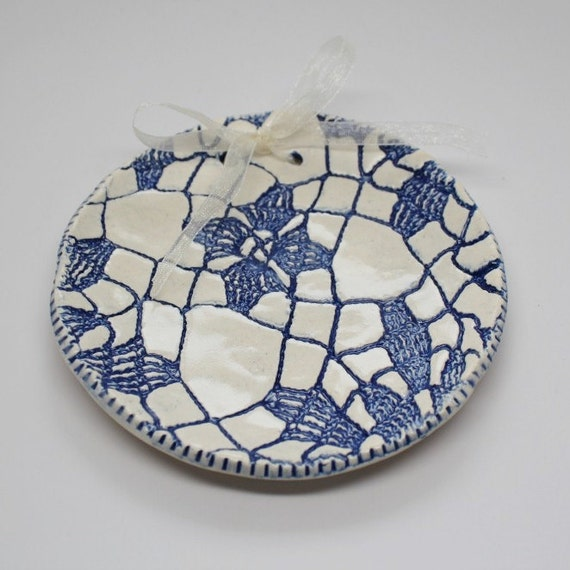 Blue Lace Ring Bearer Dish and or Hanging Decor