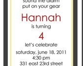 PRINTABLE Girl Fire fighter Birthday Invitations