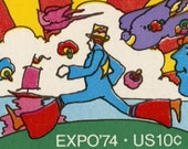 Cosmic Jumper by Peter Max - Stretched Canvas Print of US Postage Stamp from 1974