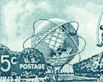 Mounted Canvas Print of 1964-1965 New York World's Fair from Postage Stamp