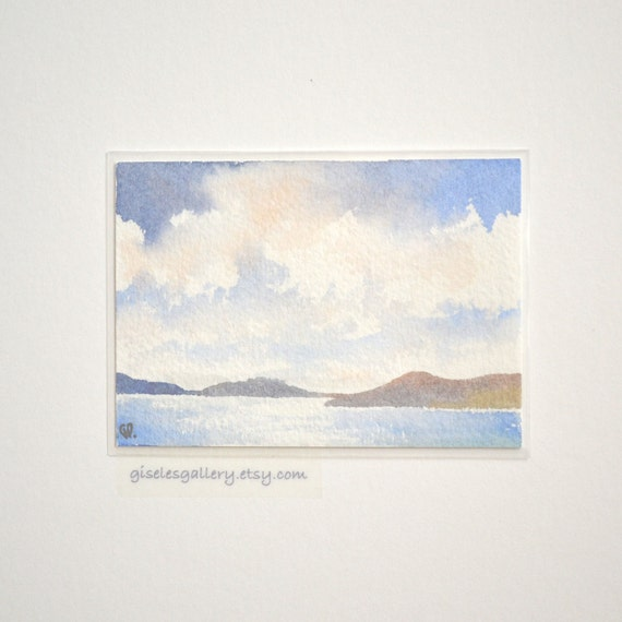 Original ACEO watercolor painting - Bright Clouds