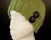 Silky Knit Pear Green Hat With Buttons