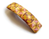 polymer clay hair barrette in Summer colors with French Hair clip - handmade polymer clay kaleidoscope canne, in Yellow Burgundy red  Pink