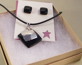 Geometric Jewelry SHIPS IMMEDIATELY Handmade Square Black  Necklace and Earrings Gift Set Anniversary Gift Black Birthday Gifts for Her