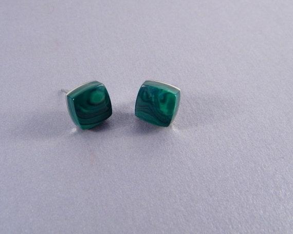 Malachite Earrings - Ear Studs made from Malachite for Men or Women - Green Post Earrings - Ready to Ship