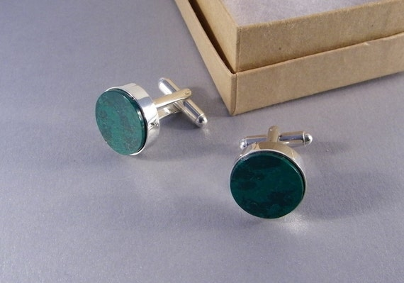 Green Cuff Links - Handmade Round Green Jade Cuff Links for Men or Women - Gifts for Groomsmen - Gifts Under 50 - Ready to Ship
