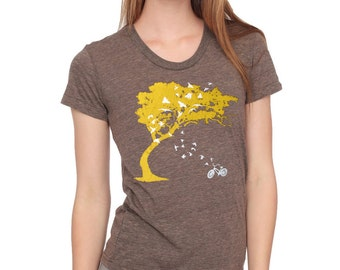 Womens birds bicycle and tree t shirt -american apparel coffee scoop track tri blend brown- available in S, M, L, XL WorldWide Shipping
