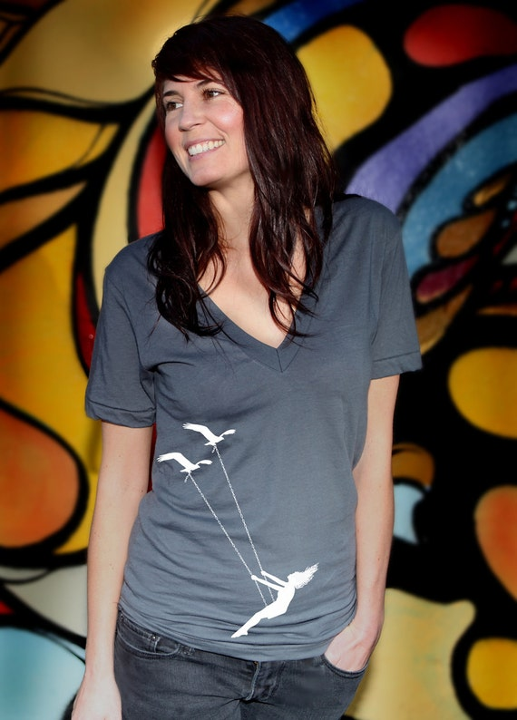 Womens V Neck, Flying bird swing- american apparel t shirt, XXS -L 5 colors- WorldWide Shipping