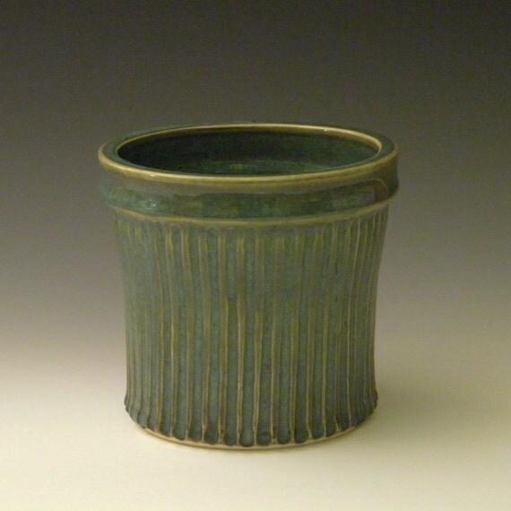 Turquoise Utensil Crock, Ceramic Kitchen Tool Holder, Craft Organizer and Brush Container