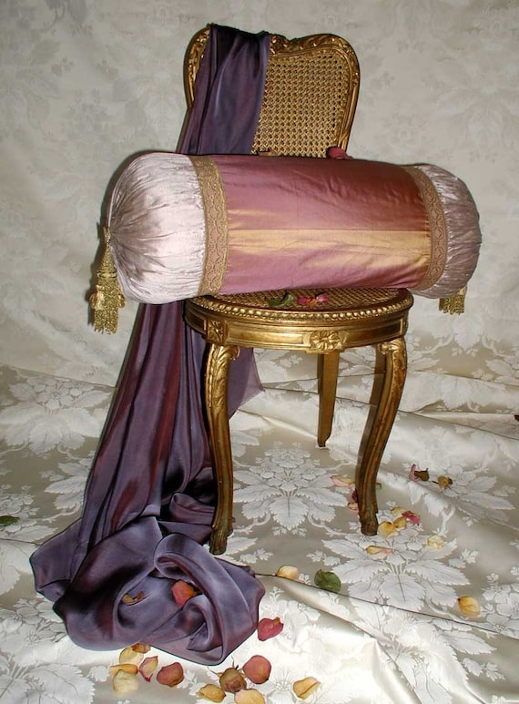 Large All Silk Handmade OOAK Down Filled Bolster Pillow With Vintage Gold Trim and Gold Tassels