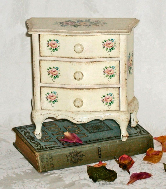 Small All-Wood Jewelry Chest Ivory With Flowers Made in Italy