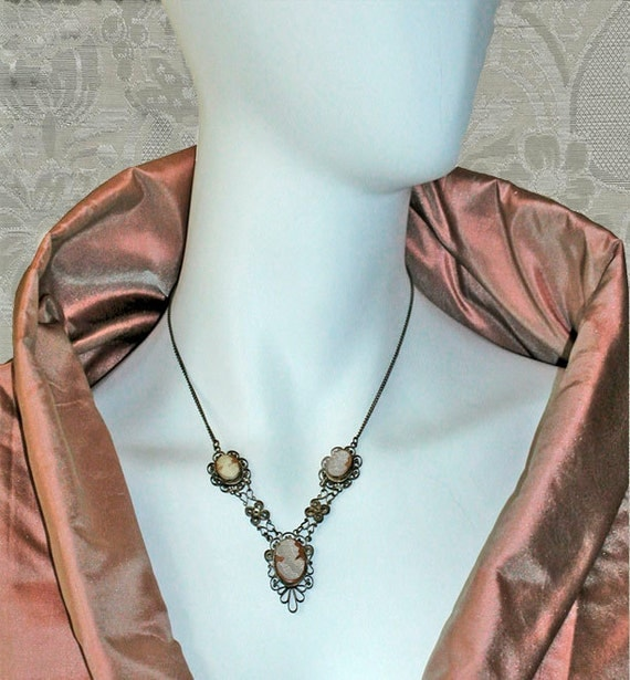 Victorian or Edwardian Cameos in Silver Filigree or Cannetille - Demi Parure of Necklace and Matching Earrings