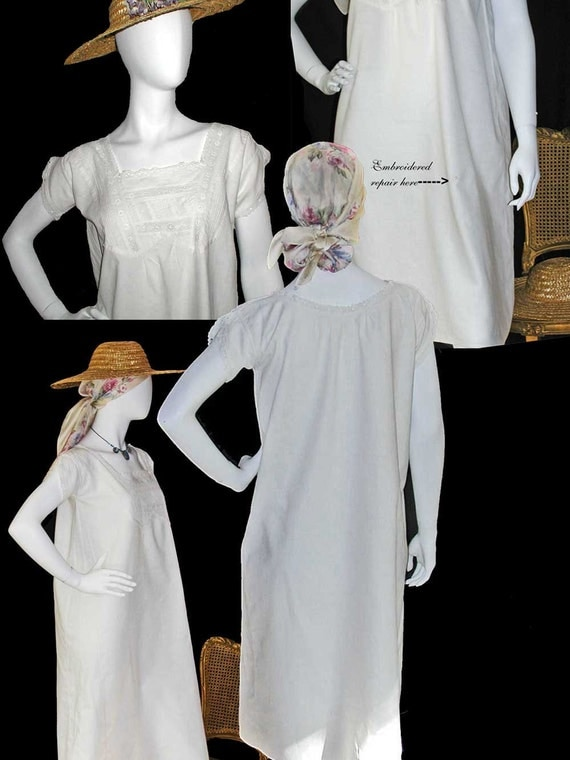 Edwardian White Cotton Dress or Nightgown With Eyelet Trim and Pintucking