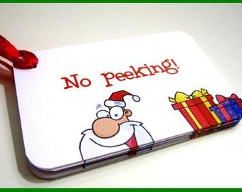 Santa Tags - No Peeking - Christmas Tags - Set of 8