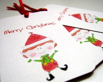 Santa Elf Tags - Merry Christmas Tags - Set of 8