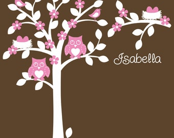 Personalized Owl Nursery Decal Owl Decor Art Decorations Baby Girl Theme