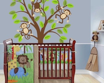 Monkey Tree Decal Kids Nursery Decor Safari Jungle Wall Decal
