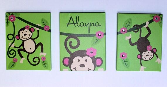 "Kids Wall Art Monkey Vine 3 11"" x 14"" Stretched Canvas Decor Kids Prints"