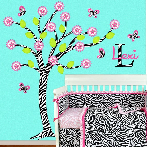 Zebra Girl Room Decor Children Wall Decal Hot Pink  Zebra Tree Wall Art Personalized OHSC