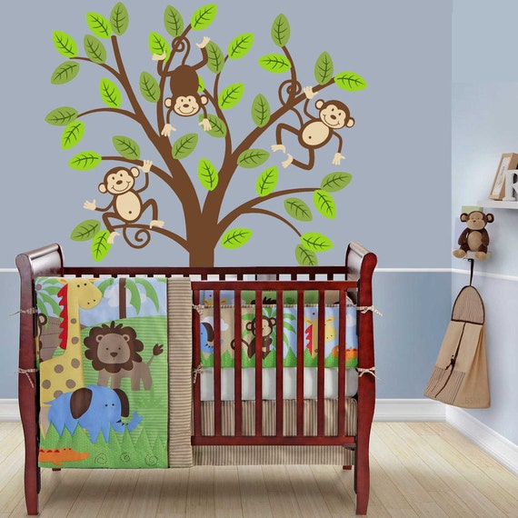 Safari Nursery Ideas: Monkey Tree Decal Kids Nursery Decor Safari Jungle Wall Decal