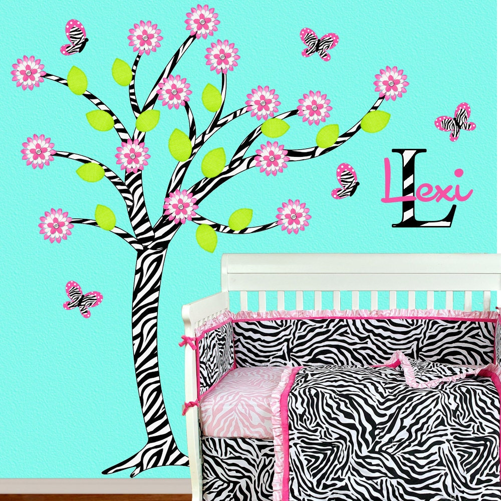 Zebra Girl Room Decor Children Wall Decal Hot Pink Zebra Tree