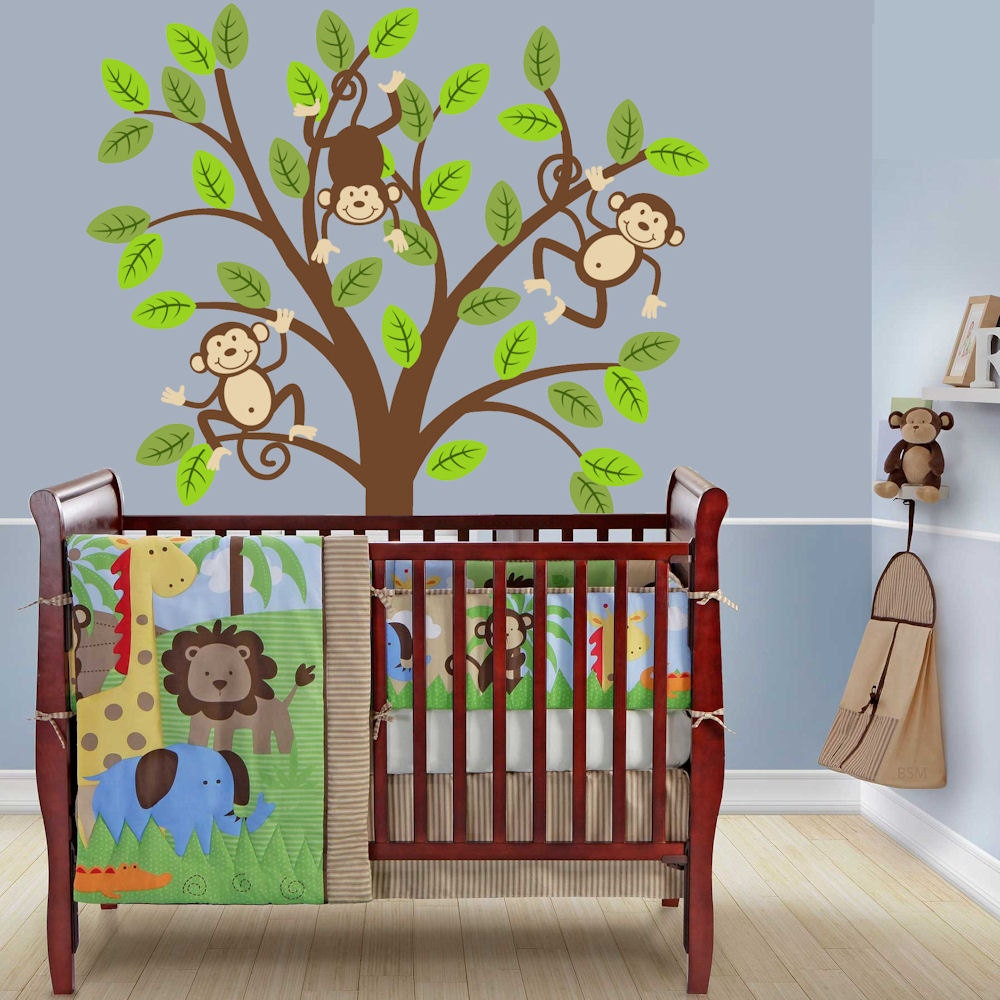 Monkey tree decal kids nursery decor safari jungle wall decal for Room decor etsy