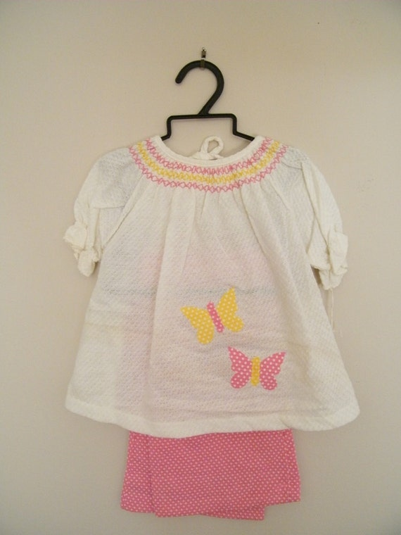 Vintage 1960s Baby Shirt and Pants / Tags Still Attached / 24 Months / Pink Polka Dots and Butteflies