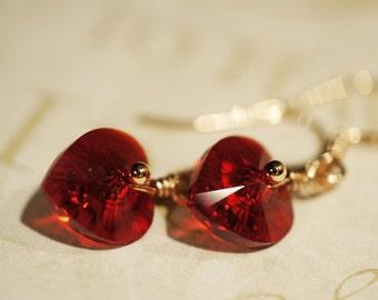 Red  Heart  Earrings  Swarovski Crystal Earrings Petite Earrings Rose Gold jewelry