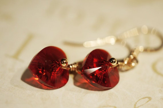 Red  Heart  Earrings  Swarovski Crystal Earrings Petite Earrings Rose Gold jewelry