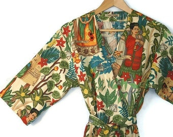 Kimono Robe. Dressing Gown. Kimono. Frida Kahlo. BACKORDERED until LATE AUGUST.