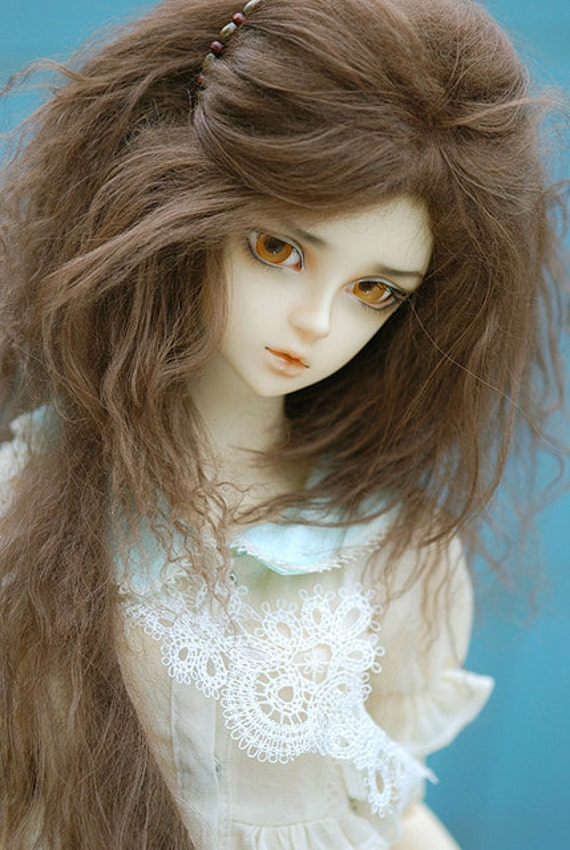 "10in"" Long Brown Mohair Wavy Wig for Volks BJD SD Dolls"