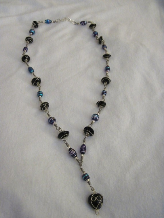 Silver Wire Wrapped Purple and Black Necklace