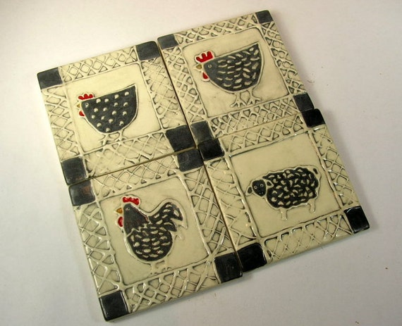 Free shipping Set of four tiles