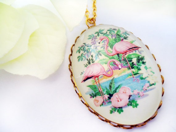 Pink Flamingos Pendant - Modern Vintage Pastels Romantic Summer Colorful Pink 50s Tropical Exotic - Exotica Collection